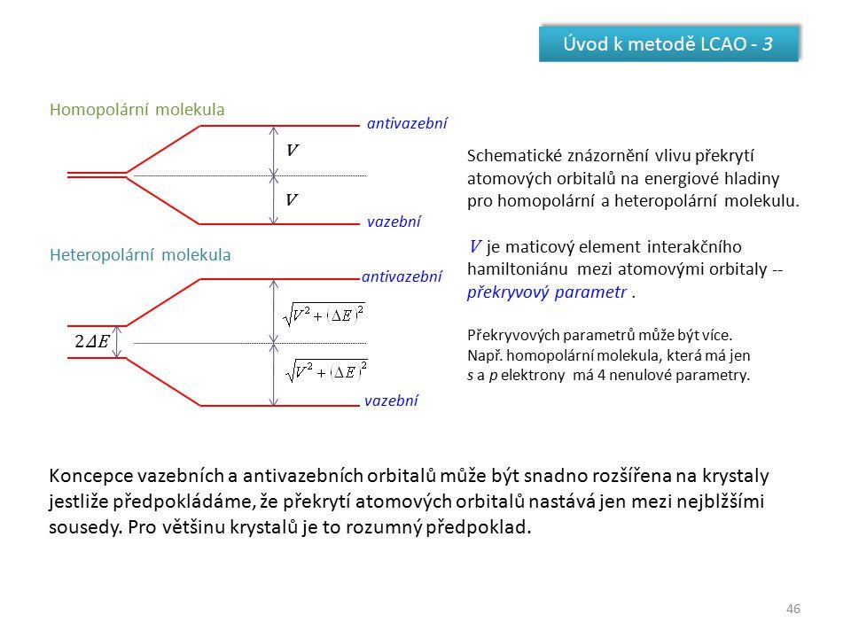 Úvod k metodě LCAO - 3 v. 2ΔE. Homopolární molekula. Heteropolární molekula. vazební. antivazební.