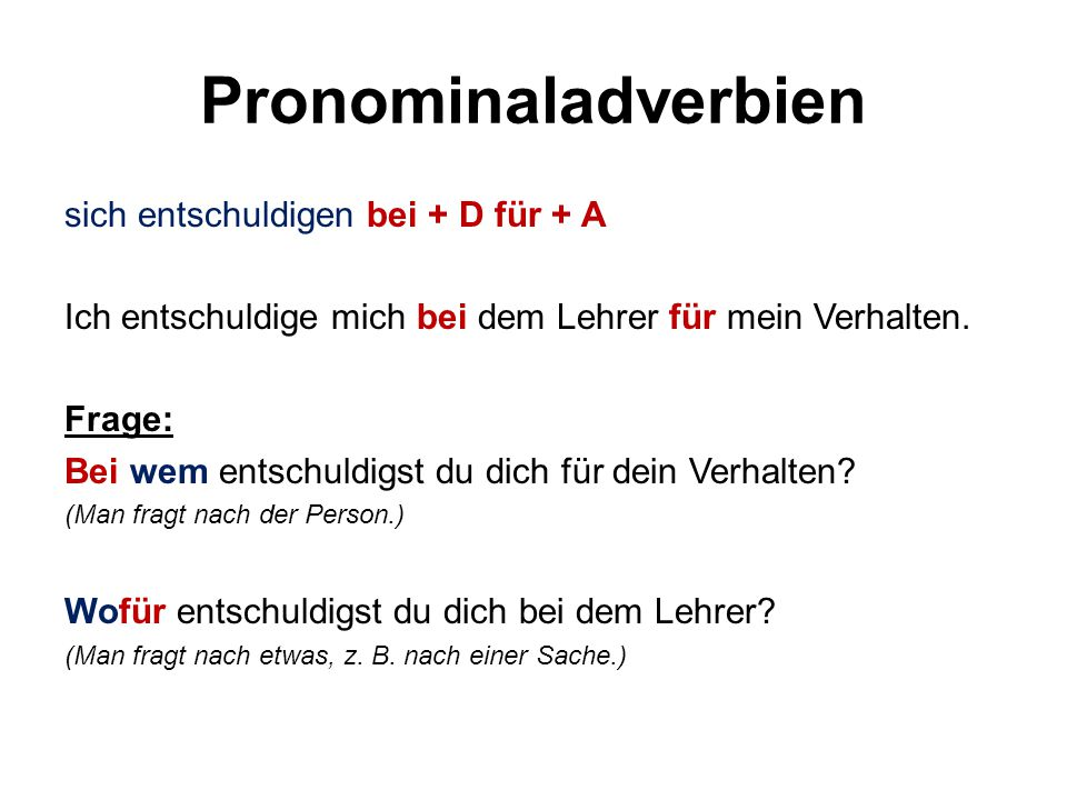 Pronominaladverbien sich entschuldigen bei + D für + A