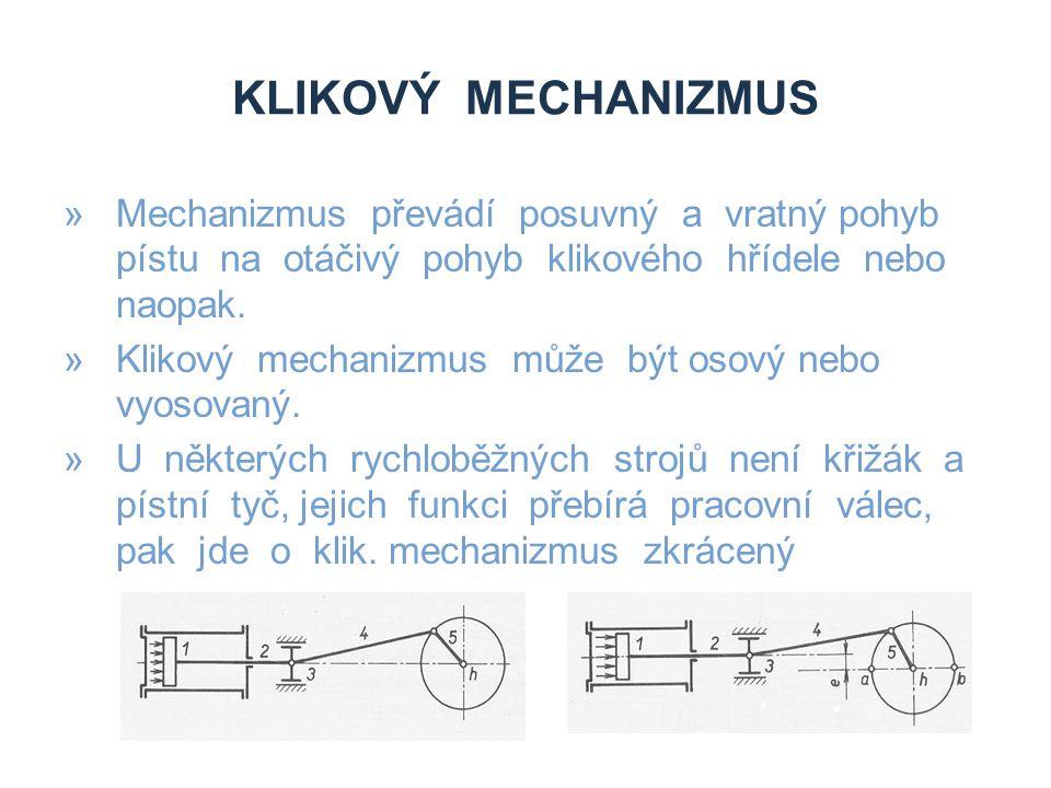 Klikový mechanizmus Mechanizmus převádí posuvný a vratný pohyb pístu na otáčivý pohyb klikového hřídele nebo naopak.