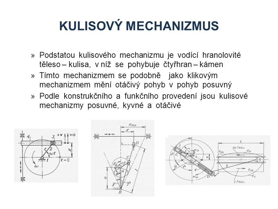 Kulisový mechanizmus Podstatou kulisového mechanizmu je vodící hranolovité těleso – kulisa, v níž se pohybuje čtyřhran – kámen.