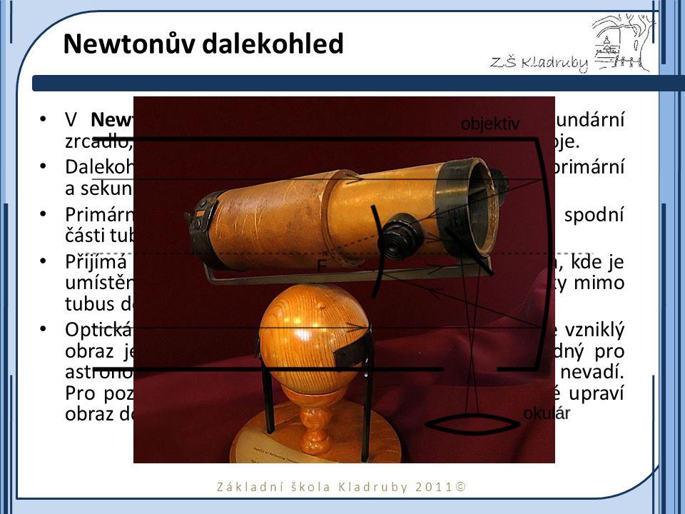 Newtonův dalekohled V Newtonově dalekohledu se používá rovinné sekundární zrcadlo, které odráží paprsky do okuláru na boku přístroje.