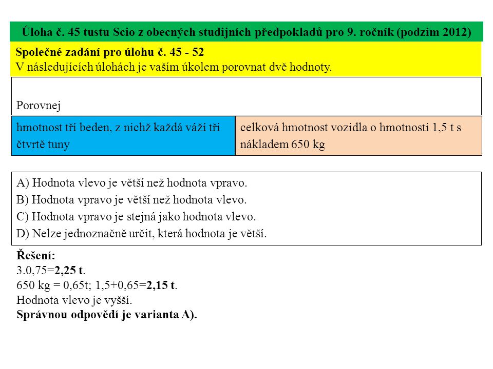 Úloha č. 45 tustu Scio z obecných studijních předpokladů pro 9