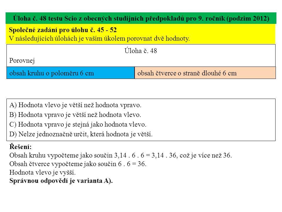Úloha č. 48 testu Scio z obecných studijních předpokladů pro 9