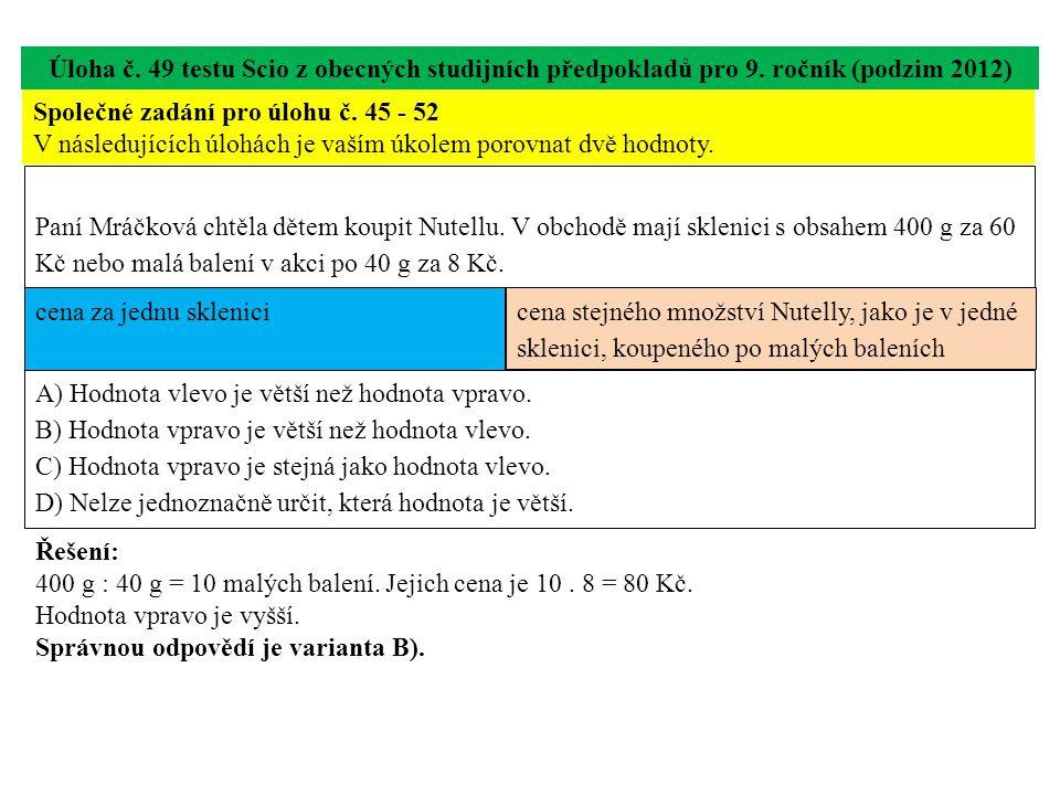 Úloha č. 49 testu Scio z obecných studijních předpokladů pro 9