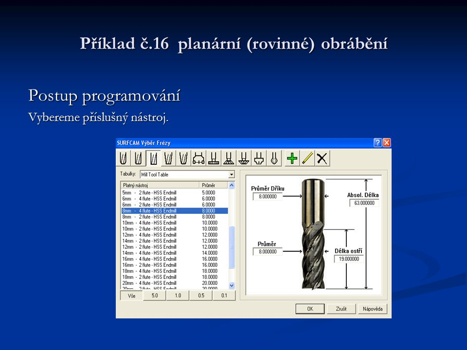 Příklad č.16 planární (rovinné) obrábění