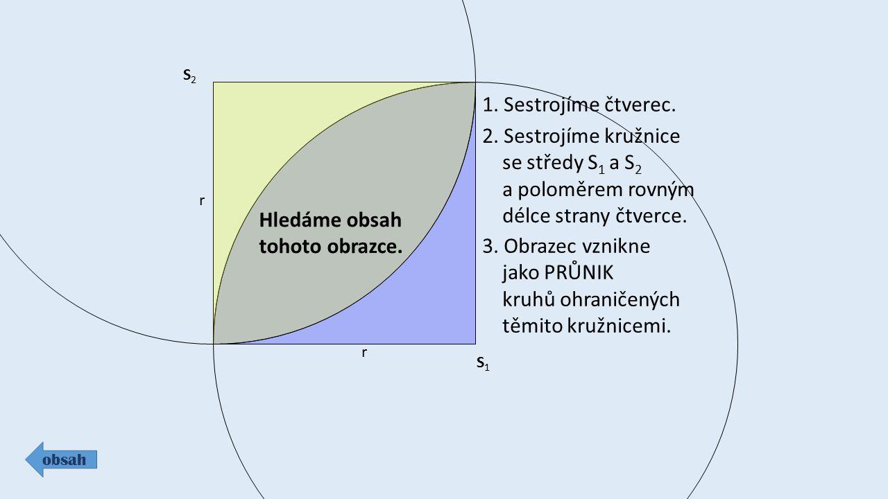 1. Sestrojíme čtverec. 2. Sestrojíme kružnice se středy S1 a S2