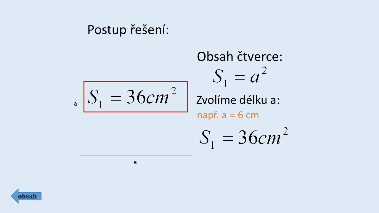 Postup řešení: Obsah čtverce: Zvolíme délku a: např. a = 6 cm a a
