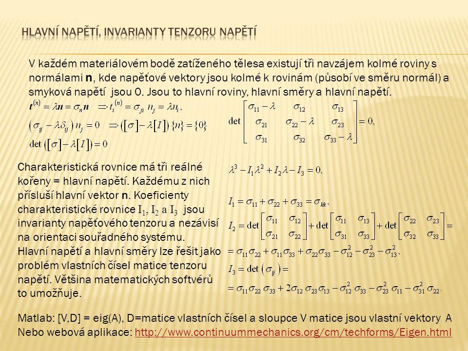 HlAVNÍ napětí, Invarianty tenzoru napětí