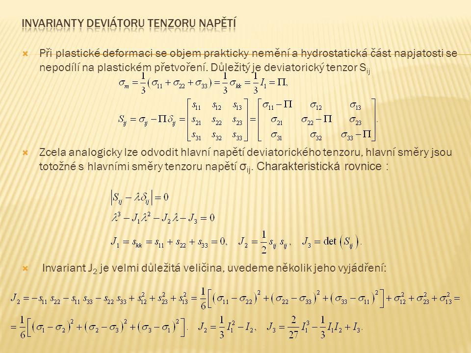 Invarianty deviátoru tenzoru napětí