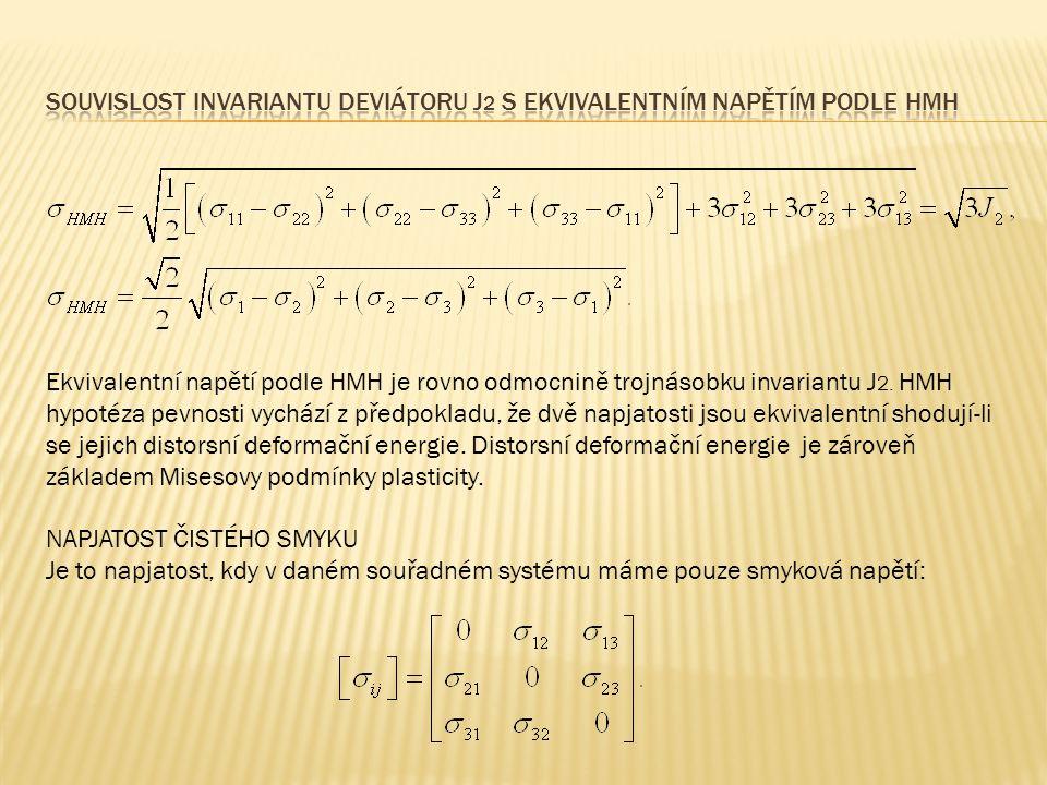 Souvislost invariantu deviátoru J2 s ekvivalentním napětím podle hmh
