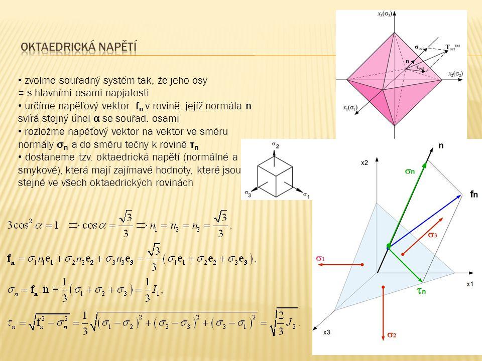 Oktaedrická napětí zvolme souřadný systém tak, že jeho osy ≡ s hlavními osami napjatosti.
