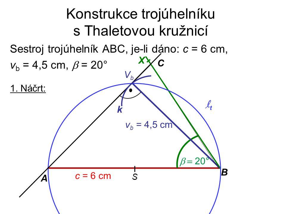Konstrukce trojúhelníku s Thaletovou kružnicí