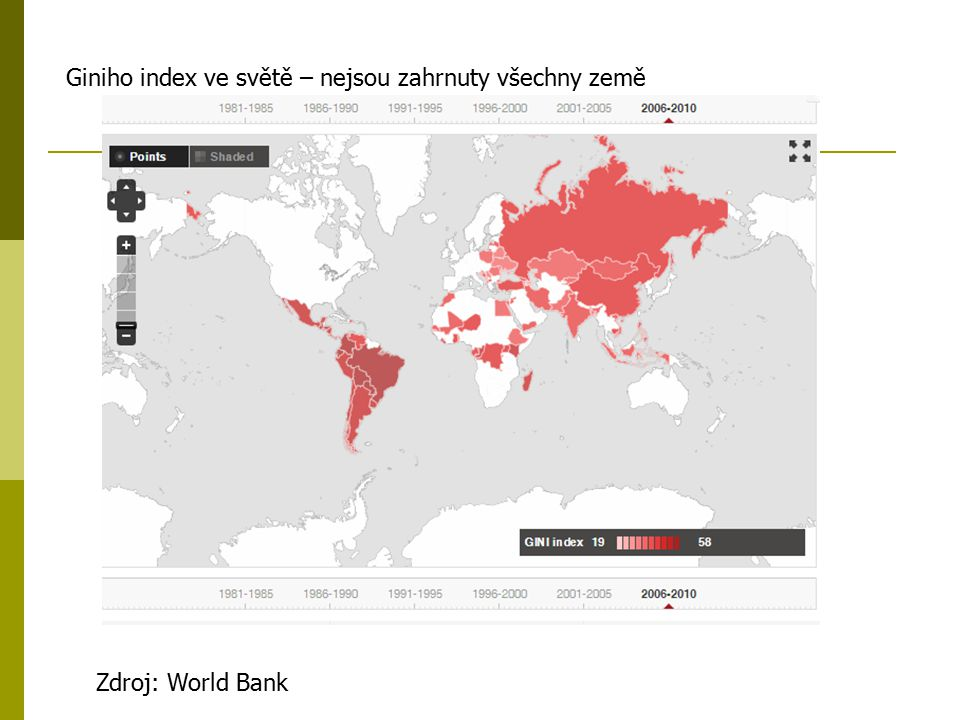 Giniho index ve světě – nejsou zahrnuty všechny země