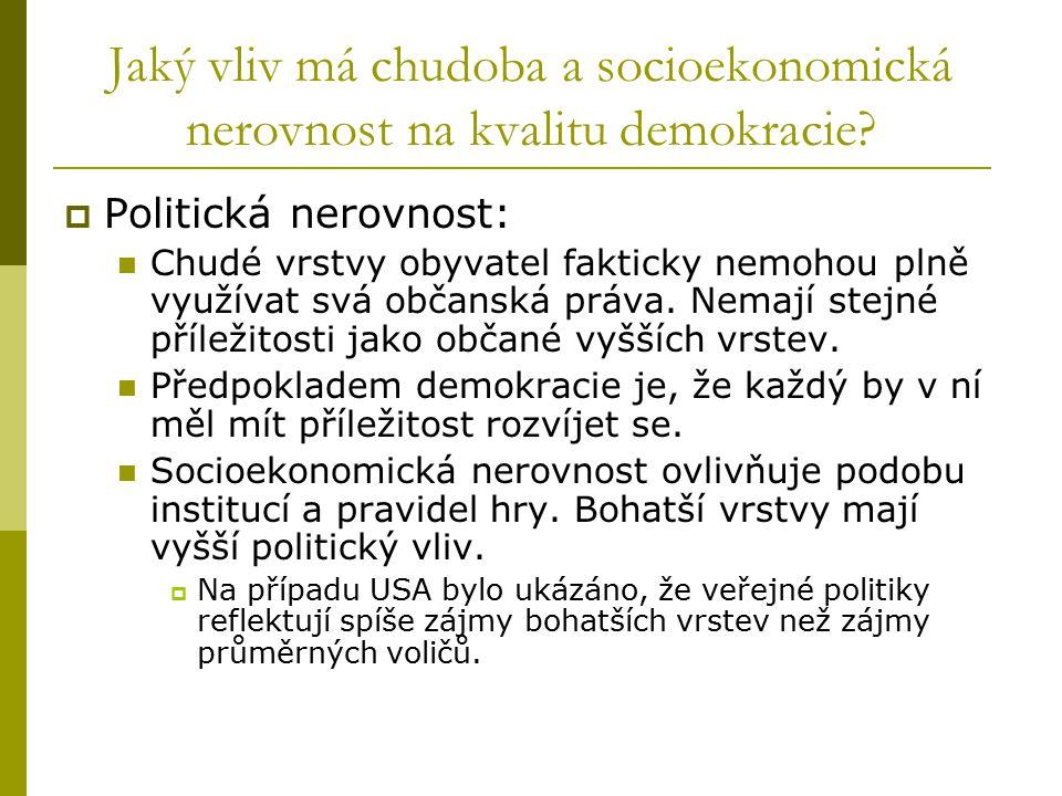Jaký vliv má chudoba a socioekonomická nerovnost na kvalitu demokracie