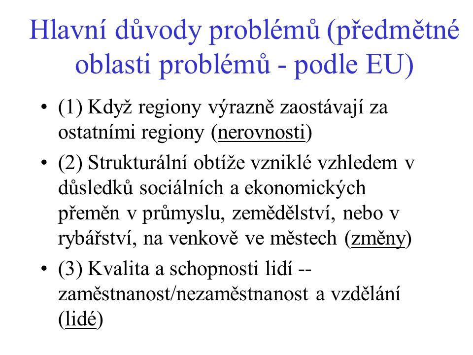 Hlavní důvody problémů (předmětné oblasti problémů - podle EU)