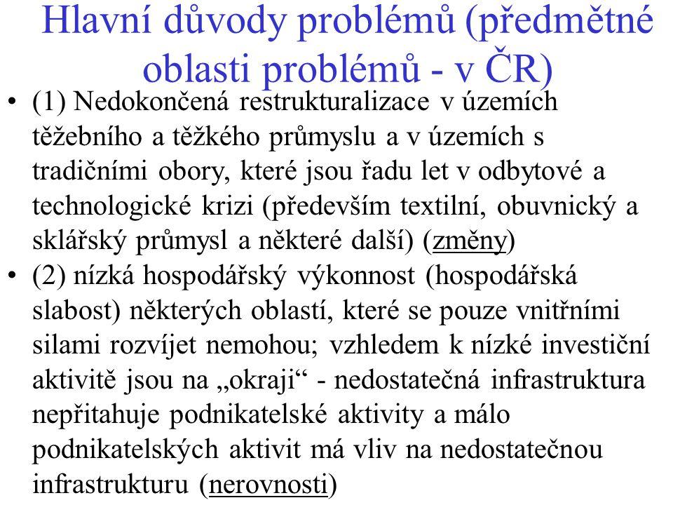 Hlavní důvody problémů (předmětné oblasti problémů - v ČR)