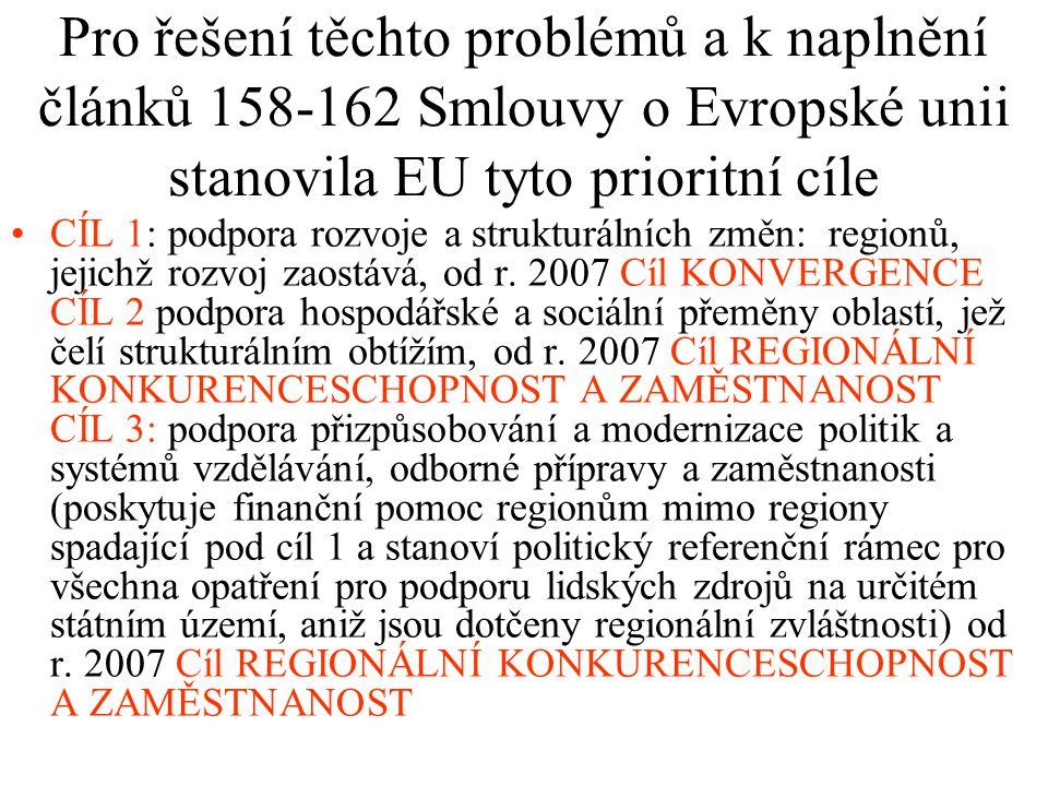 Pro řešení těchto problémů a k naplnění článků 158-162 Smlouvy o Evropské unii stanovila EU tyto prioritní cíle