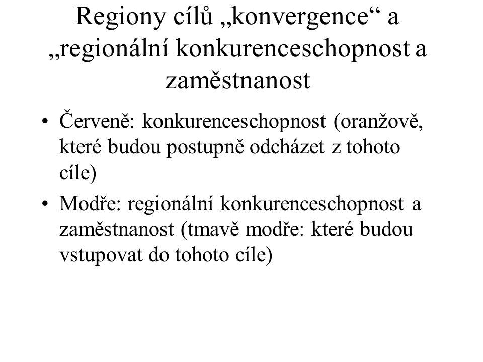 """Regiony cílů """"konvergence a """"regionální konkurenceschopnost a zaměstnanost"""