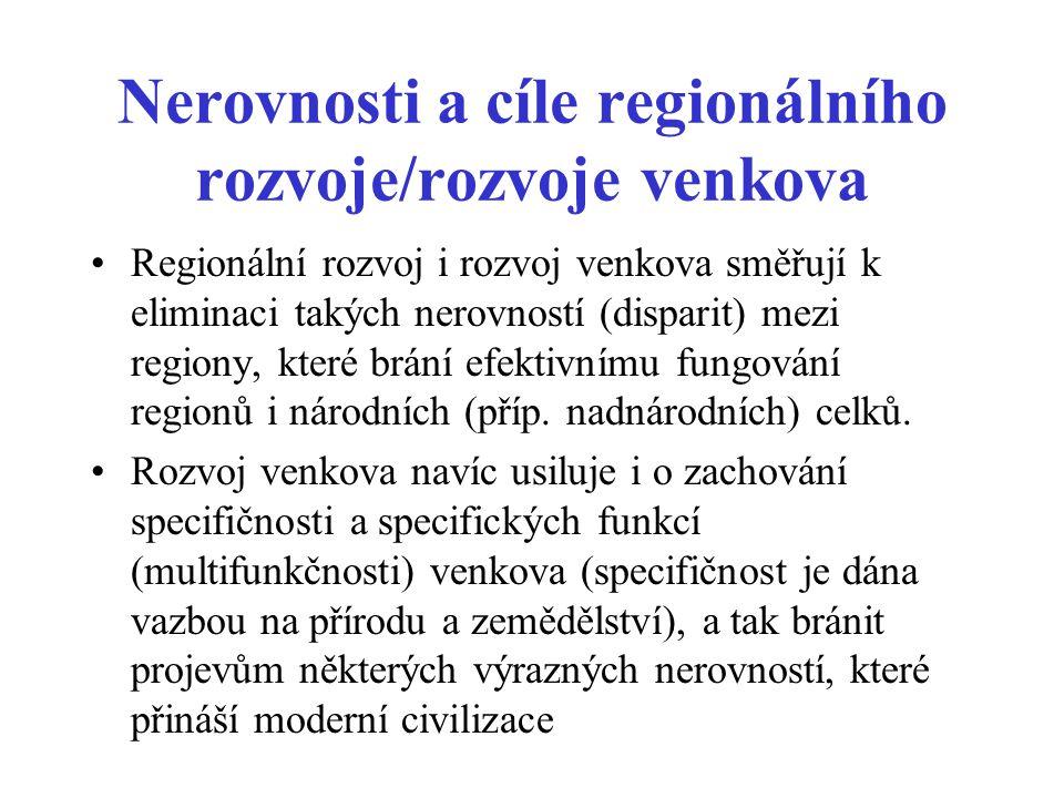 Nerovnosti a cíle regionálního rozvoje/rozvoje venkova
