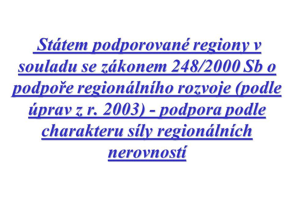 Státem podporované regiony v souladu se zákonem 248/2000 Sb o podpoře regionálního rozvoje (podle úprav z r.
