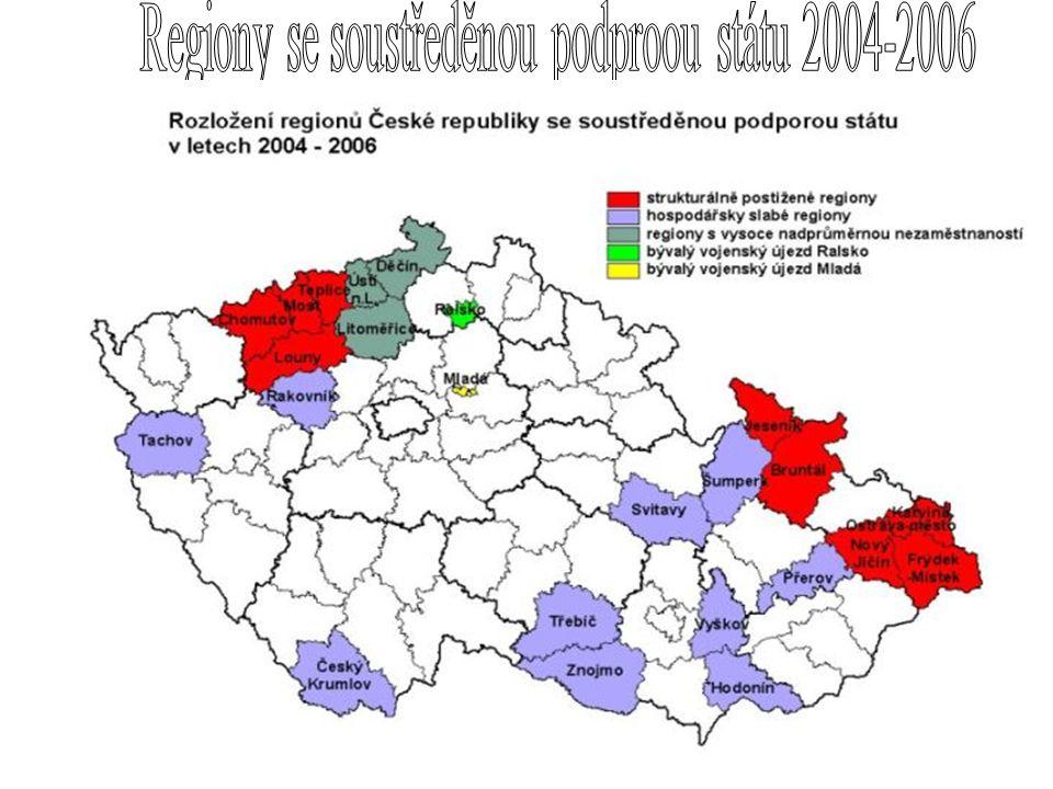 Regiony se soustředěnou podproou státu 2004-2006