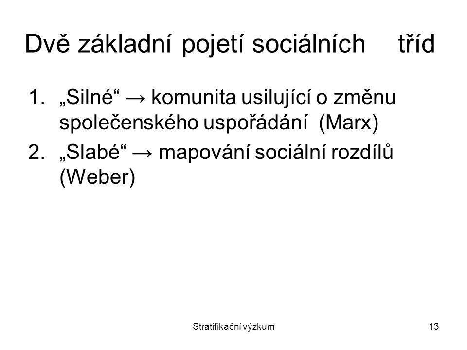 Dvě základní pojetí sociálních tříd