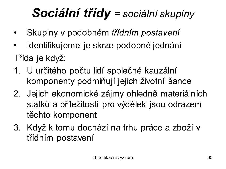 Sociální třídy = sociální skupiny