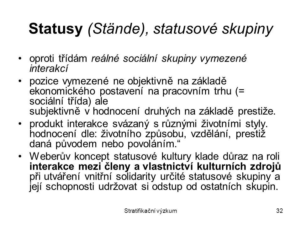 Statusy (Stände), statusové skupiny
