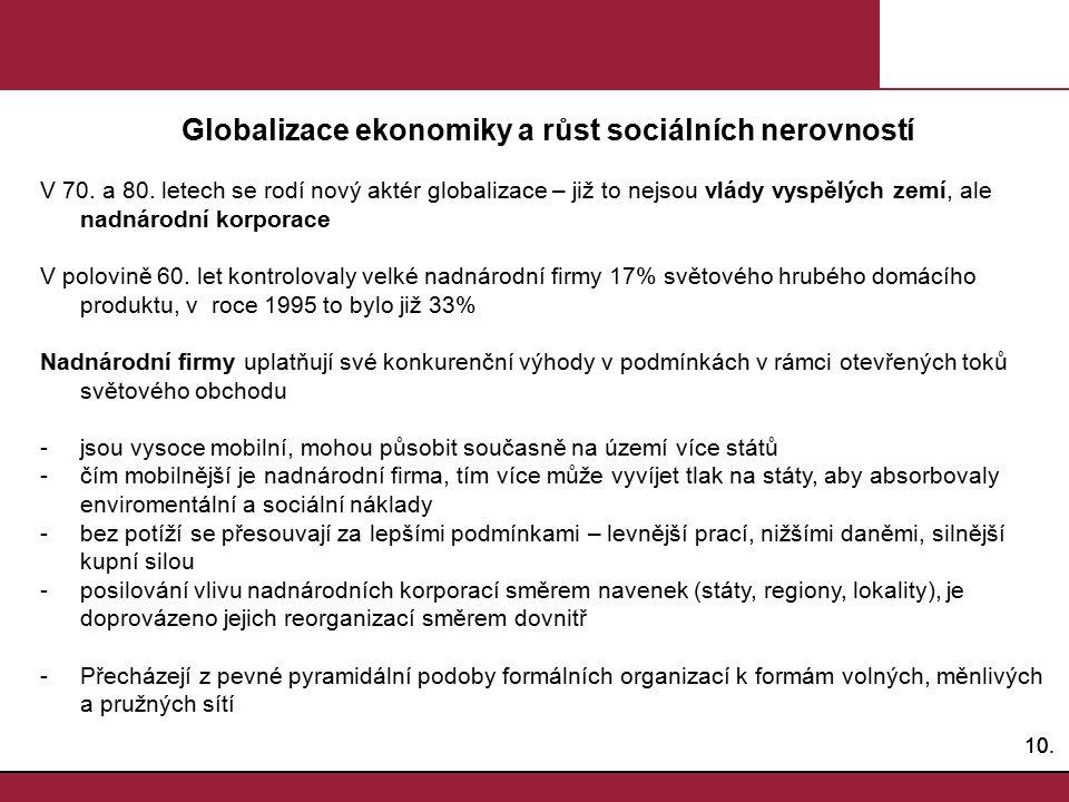 Globalizace ekonomiky a růst sociálních nerovností
