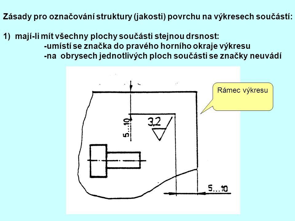 1) mají-li mít všechny plochy součásti stejnou drsnost: