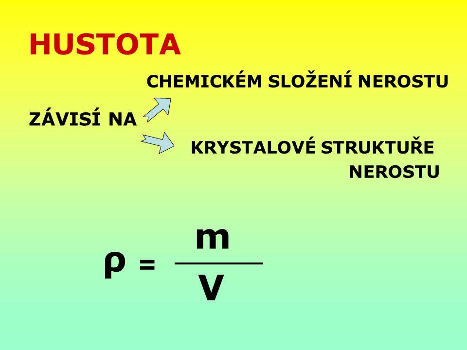 m ρ V HUSTOTA = ZÁVISÍ NA CHEMICKÉM SLOŽENÍ NEROSTU