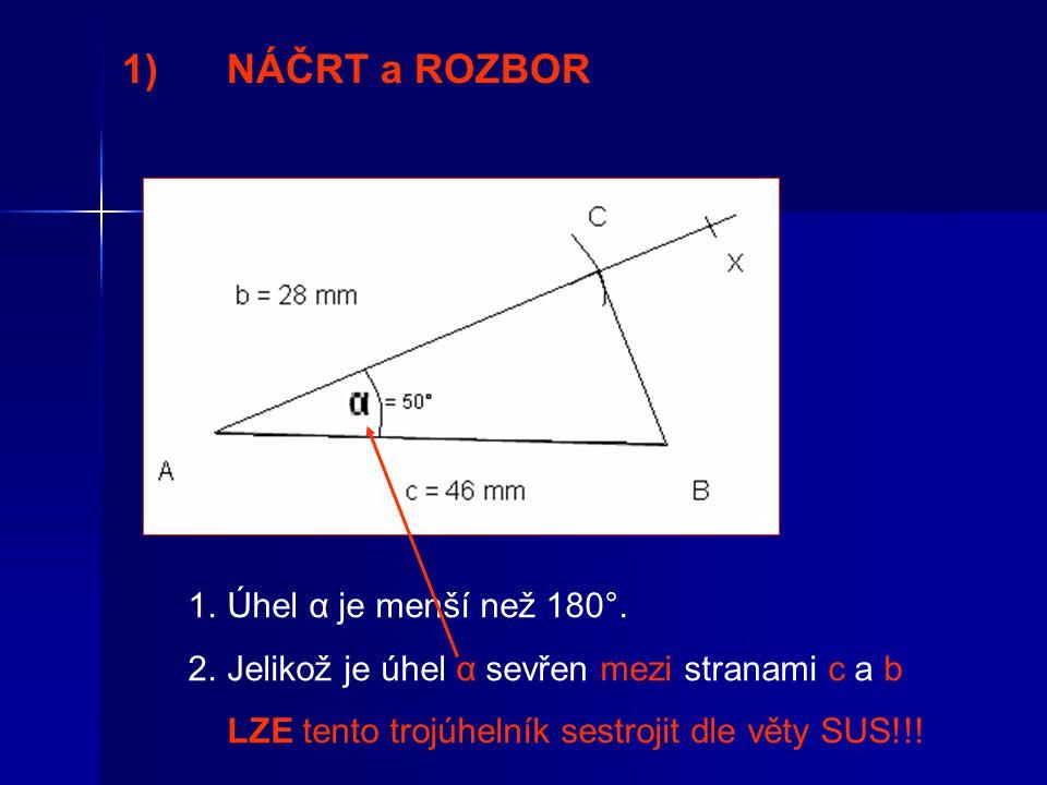 1) NÁČRT a ROZBOR Úhel α je menší než 180°.