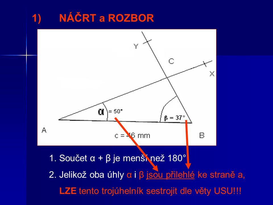 1) NÁČRT a ROZBOR Součet α + β je menší než 180°.