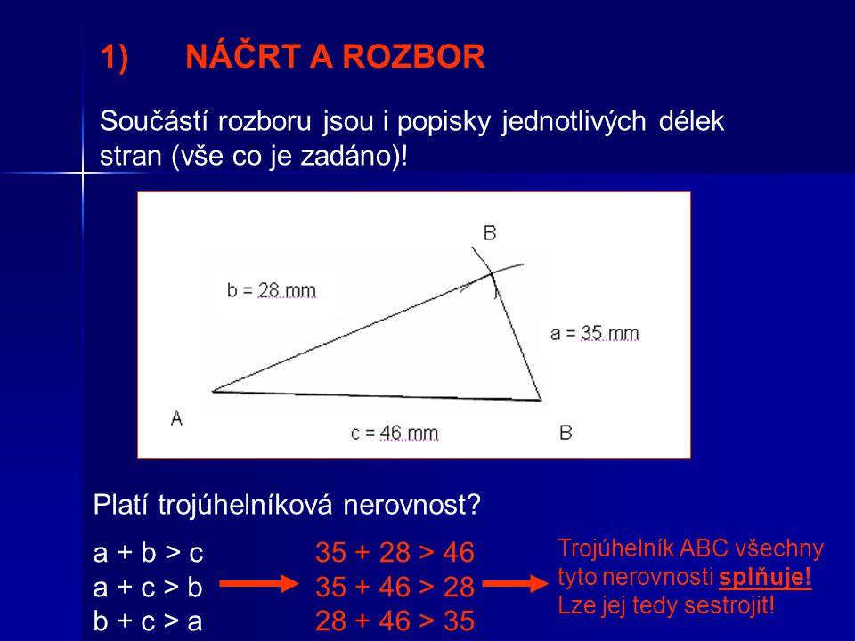 1) NÁČRT A ROZBOR Součástí rozboru jsou i popisky jednotlivých délek stran (vše co je zadáno)! Platí trojúhelníková nerovnost