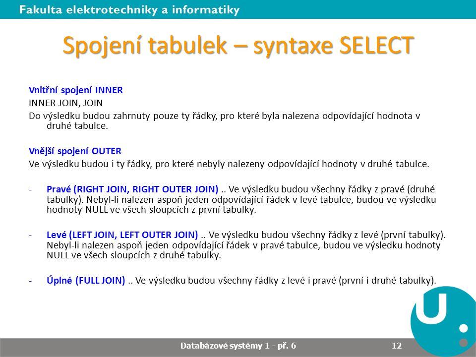Spojení tabulek – syntaxe SELECT
