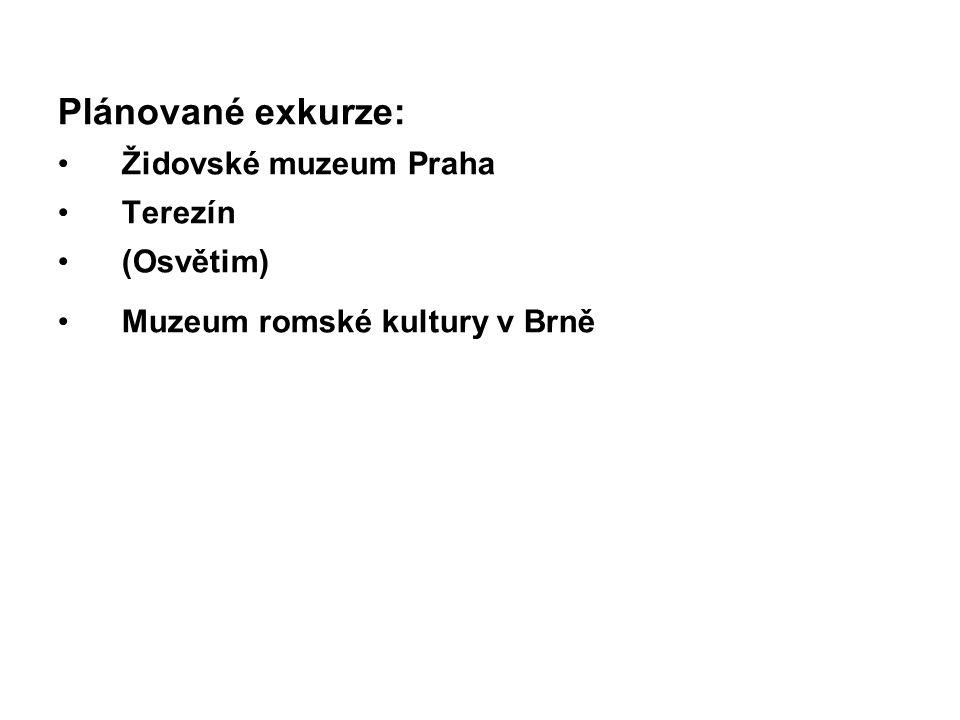 Plánované exkurze: Židovské muzeum Praha Terezín (Osvětim)