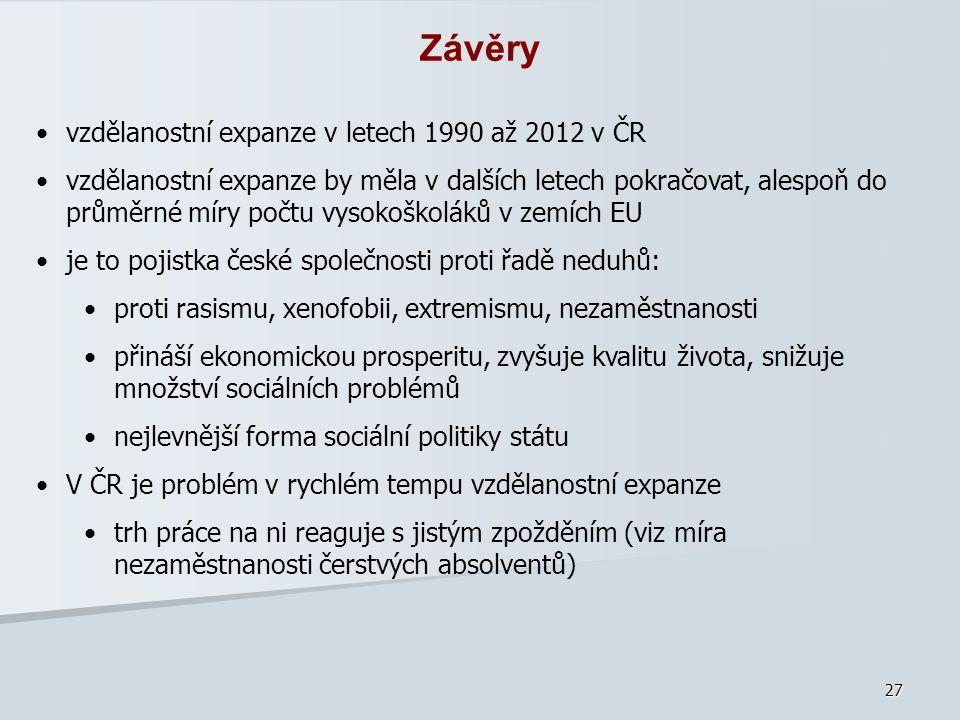 Závěry vzdělanostní expanze v letech 1990 až 2012 v ČR
