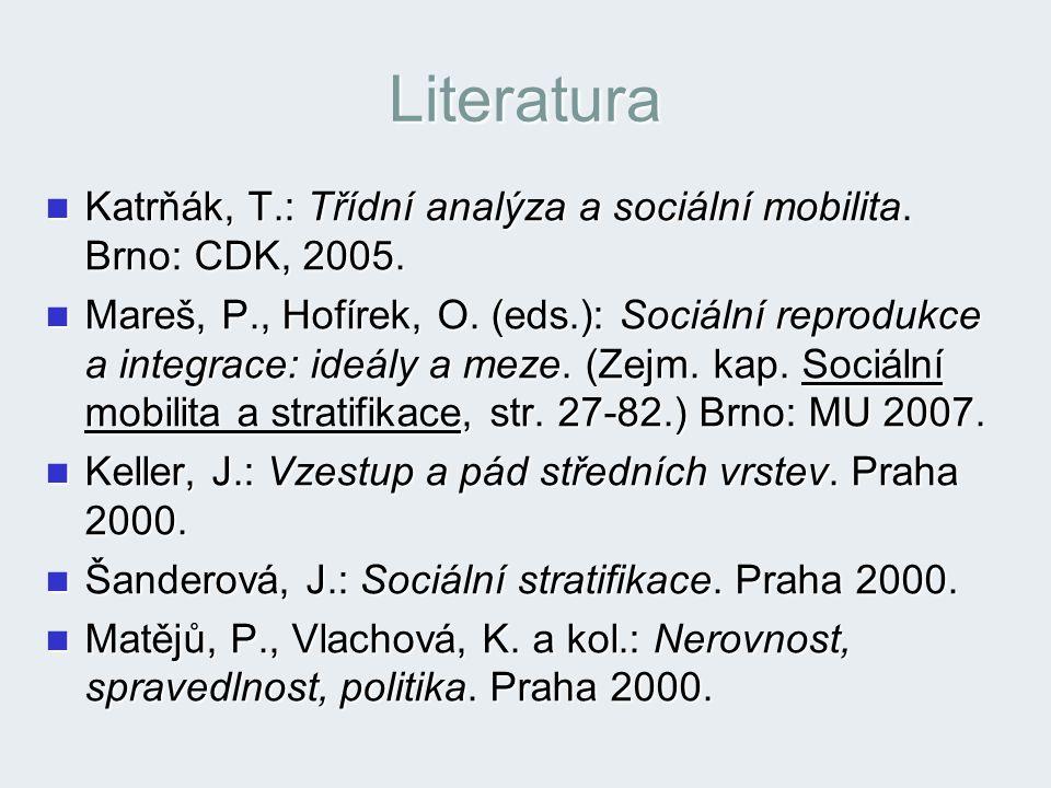 Literatura Katrňák, T.: Třídní analýza a sociální mobilita. Brno: CDK, 2005.