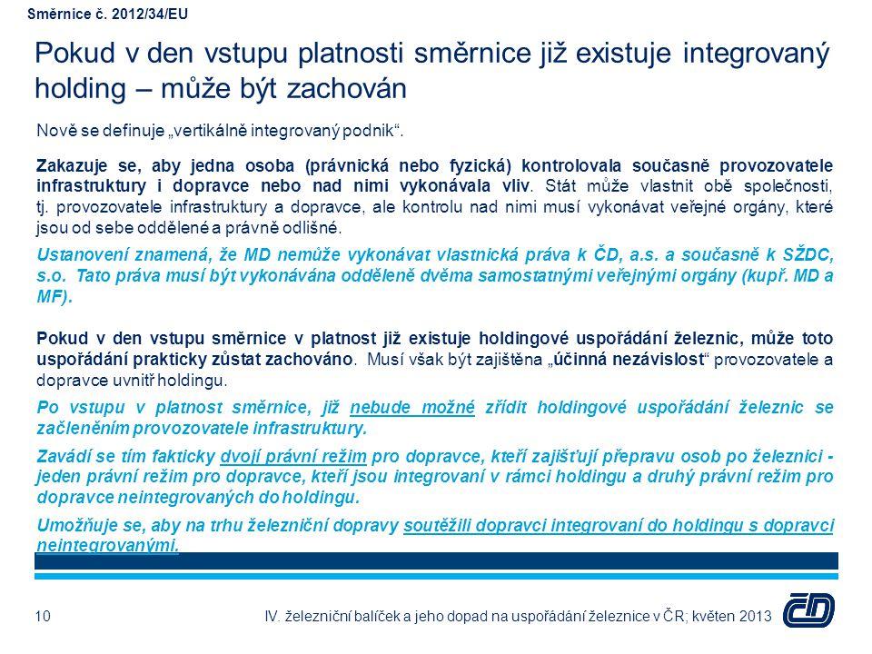 Směrnice č. 2012/34/EU Pokud v den vstupu platnosti směrnice již existuje integrovaný holding – může být zachován.