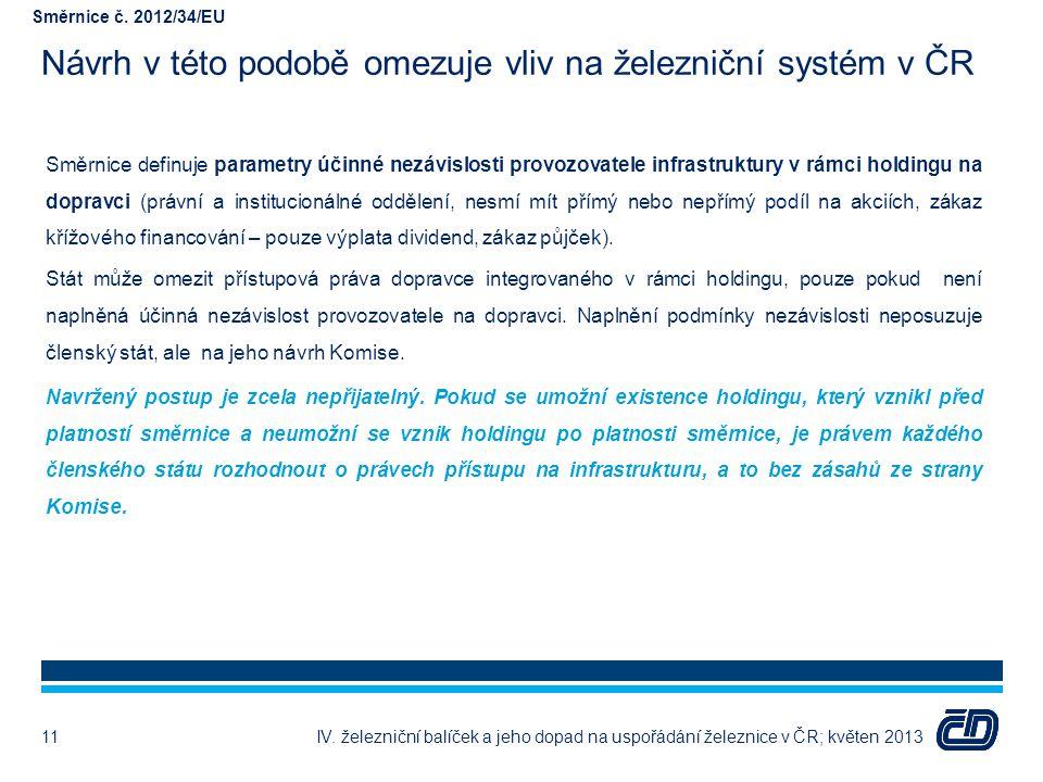 Návrh v této podobě omezuje vliv na železniční systém v ČR