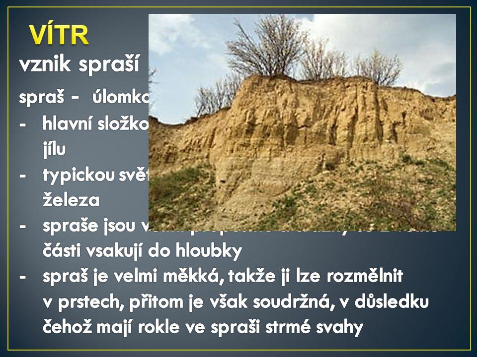 VÍTR vznik spraší spraš - úlomkovitá usazená hornina navátá větrem