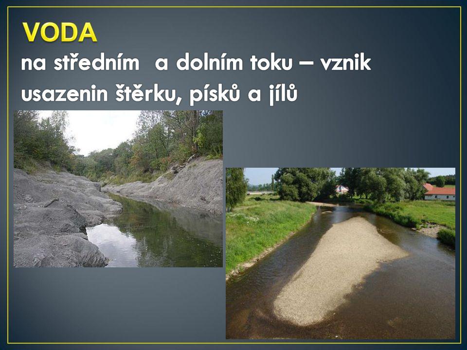 VODA na středním a dolním toku – vznik usazenin štěrku, písků a jílů