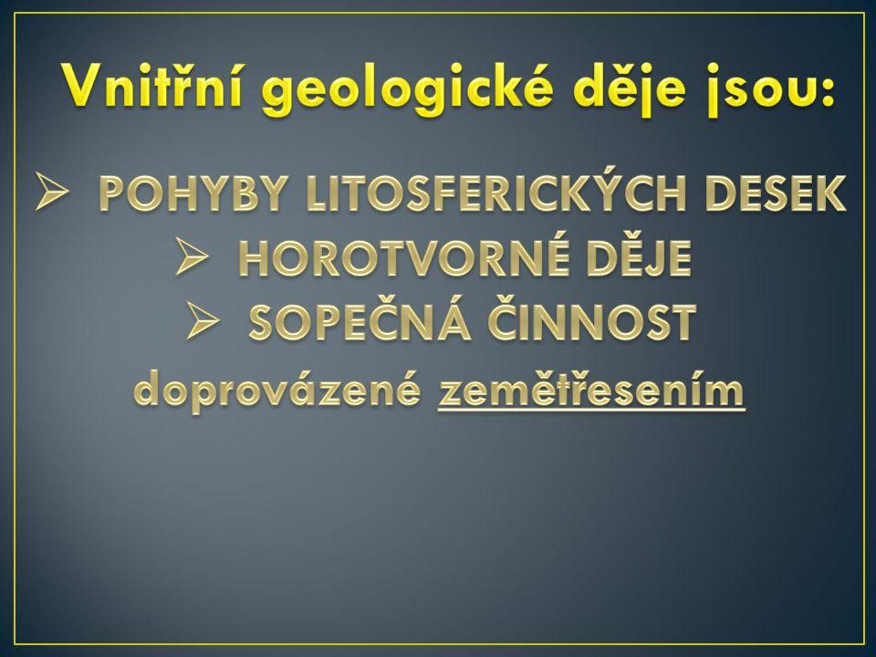 Vnitřní geologické děje jsou: