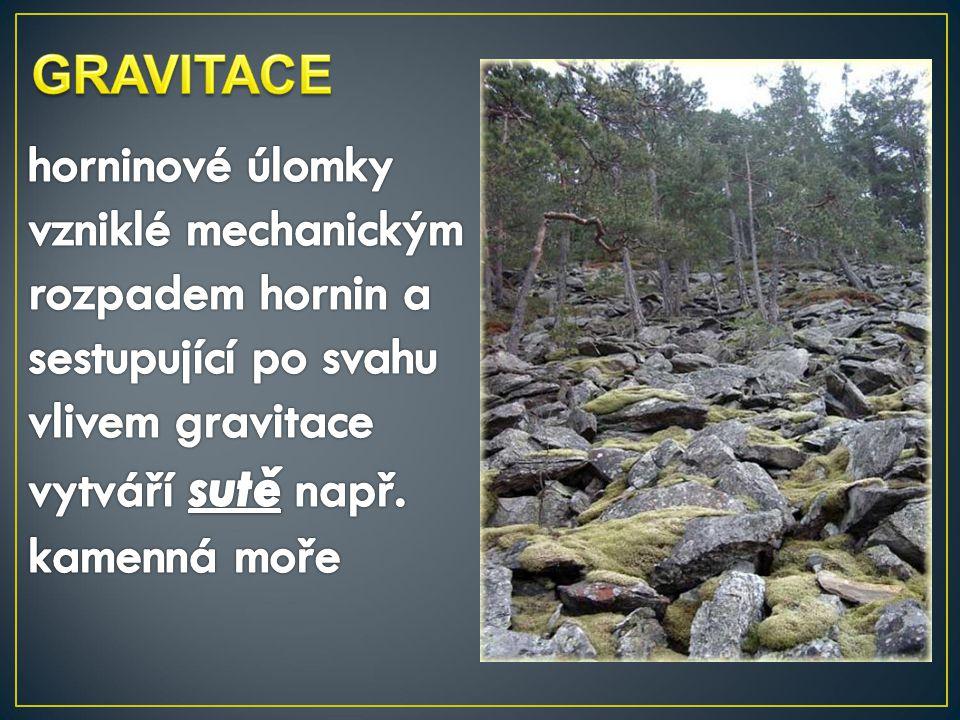 GRAVITACE horninové úlomky vzniklé mechanickým rozpadem hornin a sestupující po svahu vlivem gravitace vytváří sutě např.