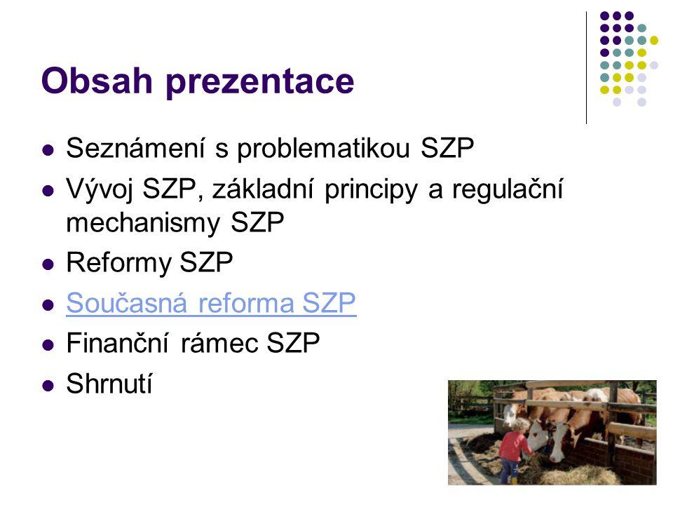 Obsah prezentace Seznámení s problematikou SZP