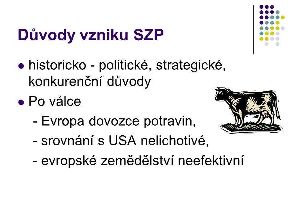 Důvody vzniku SZP historicko - politické, strategické, konkurenční důvody. Po válce. - Evropa dovozce potravin,