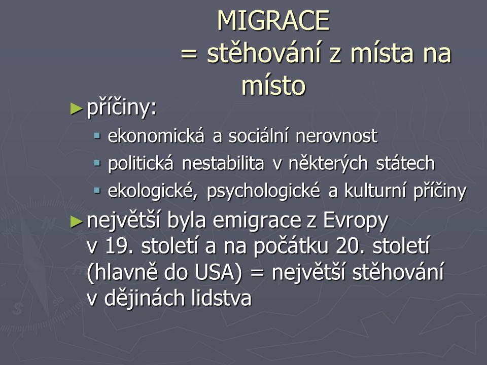 MIGRACE = stěhování z místa na místo