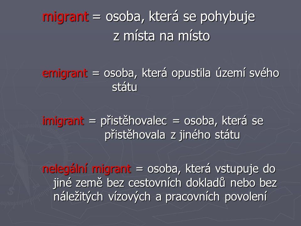 migrant = osoba, která se pohybuje z místa na místo