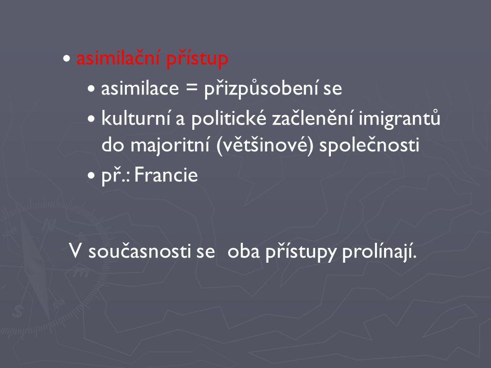 asimilační přístup asimilace = přizpůsobení se. kulturní a politické začlenění imigrantů do majoritní (většinové) společnosti.