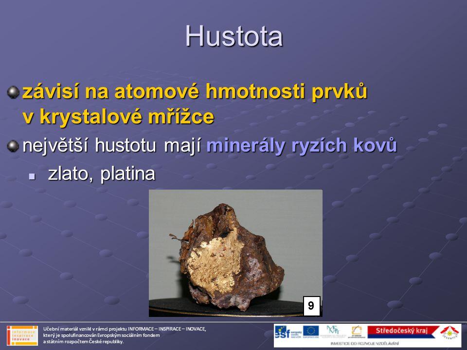 Hustota závisí na atomové hmotnosti prvků v krystalové mřížce